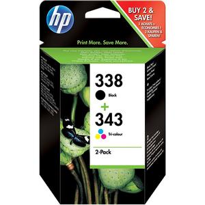 Pachet cu 2 cartuse de cerneala HP 338 negru si 343 color