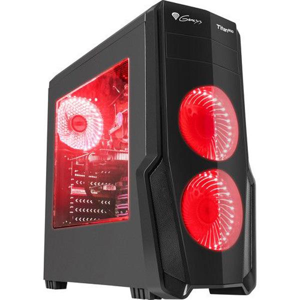 Carcasa GENESIS Titan 800 Red, 2 x USB 3.0, 2 x USB 2.0, mini-ITX, mATX, ATX