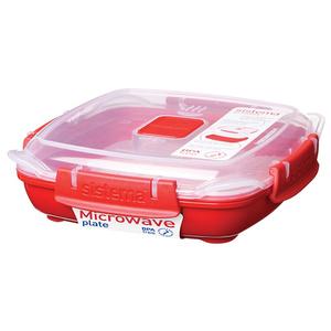 Caserola SISTEMA Microwave Plate 4049276, 0.44ml, plastic, rosu