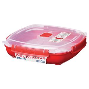 Caserola SISTEMA Microwave Plate 4049277, 1.3l, plastic, rosu