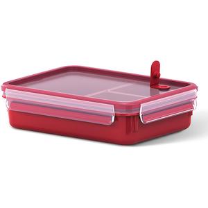 Caserola compartimentata TEFAL Clip Micro K3102412, 1.2l, plastic, rosu
