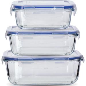 Set caserole MYRIA MY4179, 3 piese, 0.55-1.7l, sticla, transparent