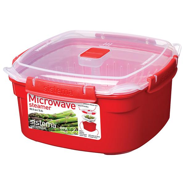 Cutie alimente din plastic cu steamer pentru microunde SISTEMA 4031064, 2.4l