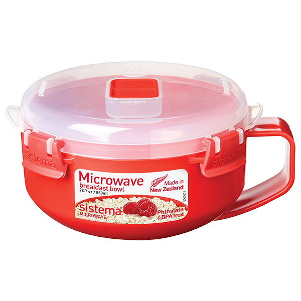 Bol SISTEMA Microwave Breakfast 4049278, 0.8ml, plastic, rosu