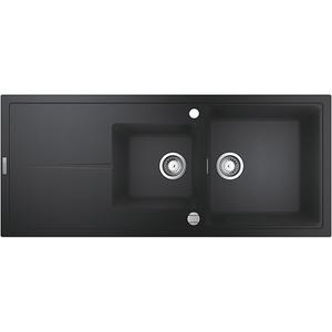 Chiuveta bucatarie GROHE K400 31643AP0, 2 cuve, picurator reversibil, compozit quartz, negru