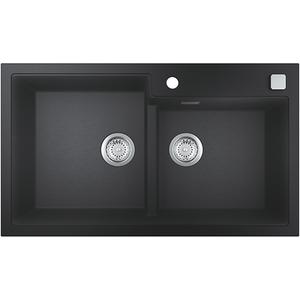 Chiuveta bucatarie GROHE K500 31649AP0, 2 cuve, montaj dreapta, compozit quartz, negru