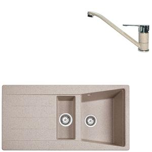 Pachet chiuveta TEKA Lumina 60 TG 11/2B 1D, picurator reversibil, granit + baterie MF2 Granit Sandbeige