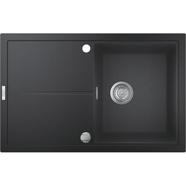 Chiuveta bucatarie GROHE K400 31639AP0, 1 cuva, picurator reversibil, compozit quartz, negru