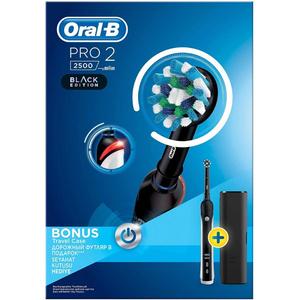 Periuta de dinti cu acumulator BRAUN Oral-B PRO 2 2500, 2 programe, 1 capat, alb-negru