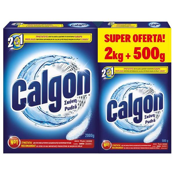 Pudra anticalcar CALGON automat 2kg + Calgon automat 500g