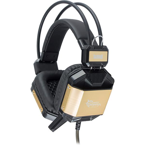 Casti Gaming WHITE SHARK Jaguar GH-1646, stereo, USB, 3.5mm, negru-auriu