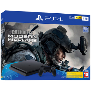 Consola SONY PlayStation 4 Slim (PS4 Slim) 1TB, Jet Black + joc Call of Duty Modern Warfare