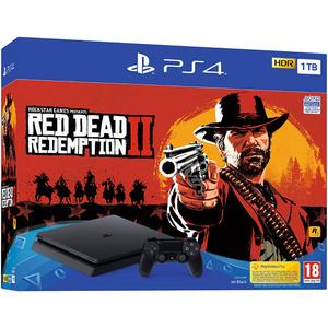Consola SONY PlayStation 4 Slim (PS4 Slim) 1TB, Jet Black + joc Red Dead Redemption 2 (disc)