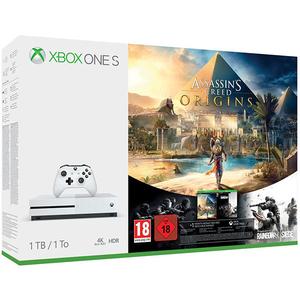 Consola MICROSOFT Xbox One S 1TB, alb + joc Assassin's Creed Origins + joc Tom Clancy's Rainbow Six Siege (coduri download)