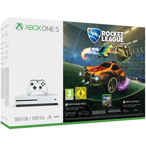 Consola MICROSOFT Xbox One S 500 GB, alb + joc Rocket League (cod download)