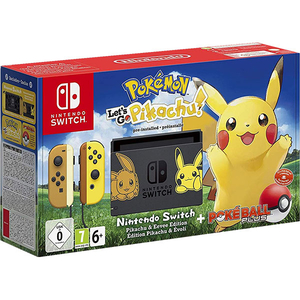 Consola Nintendo Switch Let's Go Pikachu Limited Edition + joc Pokemon: Let's Go Pikachu + controller Poke Ball Plus