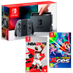 Consola NINTENDO Switch Sports Pack (Joy-Con Grey - incl. jocuri NBA 2K18 + Mario Tennis Aces)
