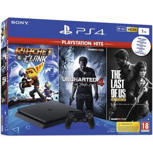 Consola SONY PlayStation 4 Slim (PS4 Slim) 1TB, Jet Black + 3 jocuri Ratchet & Clank, Uncharted 4, The Last of Us