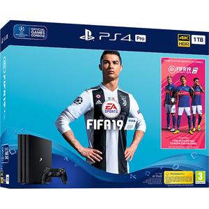Consola SONY PlayStation 4 Pro (PS4 Pro) 1TB, Jet Black + joc FIFA 19 (disc) + PS Plus 14 zile (voucher)