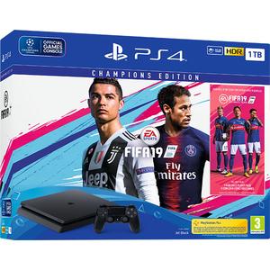 Consola SONY PlayStation 4 Slim (PS4 Slim) 1TB, Jet Black + joc FIFA 19 Champions Edition (disc) + PS Plus 14 zile (voucher)