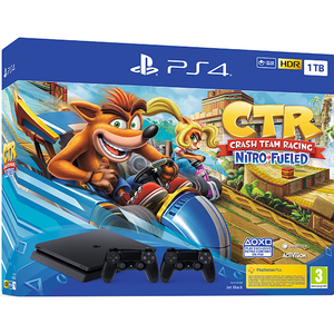 Consola SONY PlayStation 4 Slim (PS4 Slim) 1TB, Jet Black + extra controller DualShock 4 V2 + joc Crash Team Racing Nitro-Fueled