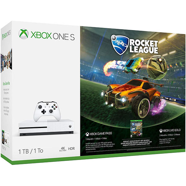 Consola MICROSOFT Xbox One S 1TB, alb + joc Rocket League (cod download)