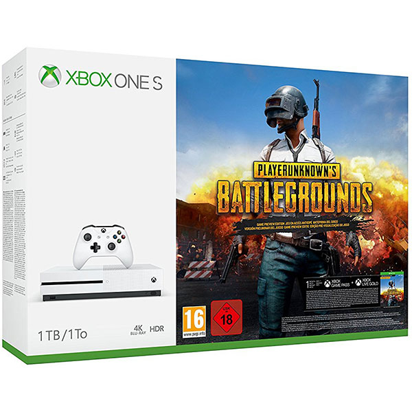 Consola MICROSOFT Xbox One S 1TB, alb + joc PLAYERUNKNOWN'S BATTLEGROUNDS [PUBG] (cod download)