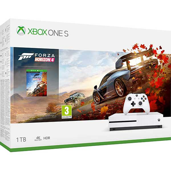 Consola MICROSOFT Xbox One S 1TB, alb + joc Forza Horizon 4 (cod download)