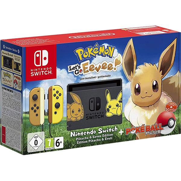 Consola Nintendo Switch Let's Go Eevee Limited Edition + joc Pokemon: Let's Go Eevee + controller Poke Ball Plus
