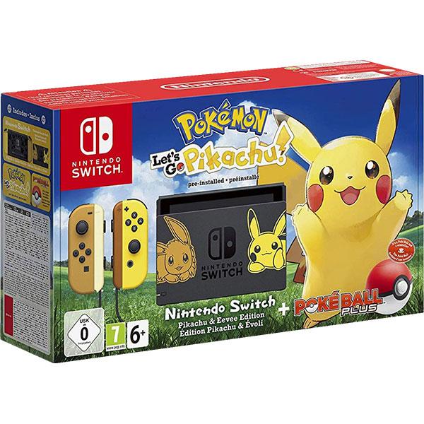 Consola Nintendo Switch Let's Go Pikachu Limited Edition + joc Pokemon: Let's Go Pikachu + controller Poke Ball Plus