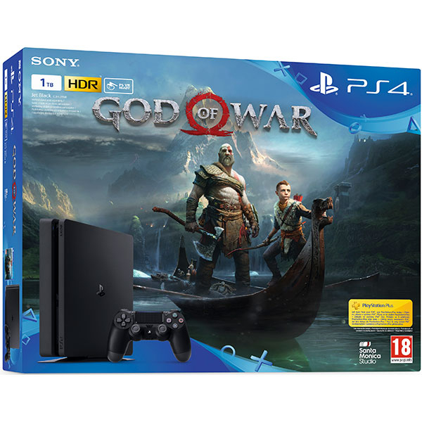 Consola SONY PlayStation 4 Slim (PS4 Slim) 1 TB, Jet Black + joc God of War (disc)