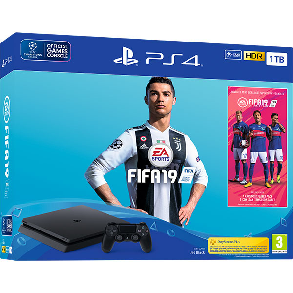 Consola SONY PlayStation 4 Slim (PS4 Slim) 1TB, Jet Black + joc FIFA 19 (disc) + PS Plus 14 zile (voucher)