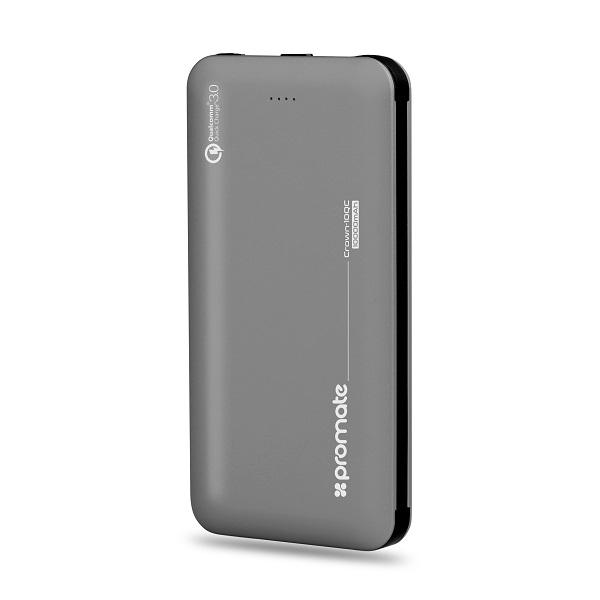 Baterie externa PROMATE Crown-10QC, 10000mAh, 1xType C, 1xLightning, 2xUSB, gri