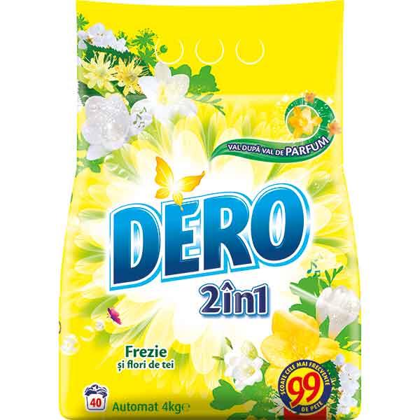 Detergent DERO 2in1 Frezie si Flori de tei, 4kg, 40 spalari