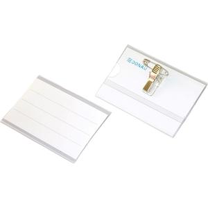 Ecuson orizontal DONAU, plastic, 90 x 57 mm, 50 bucati, transparent