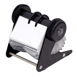 Clasor carti de vizita DONAU, rotativ, 400 carti de vizita, baza metalica, negru