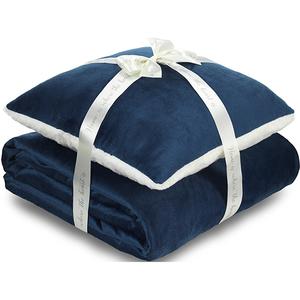 Set perna si patura DORMEO Warm Hug ll, albastru, 200 x 200 cm