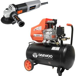 Compresor DAEWOO DAC50D, cu ulei, 50 litri, 1.5 CP, 8 Bar+ polizor DAEWOO DAAG125-90