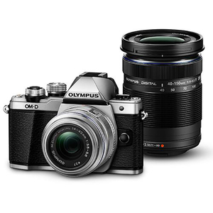 Aparat foto Mirrorless OLYMPUS E-M10 MARK II Double Zoom, 16 MP, Wi-Fi, argintiu + Obiectiv 14-42mm + Obiectiv 40-150mm