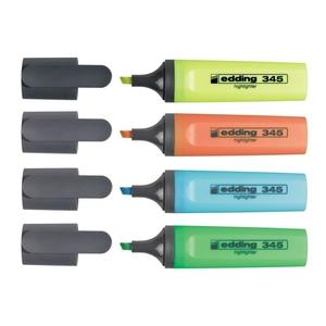 Textmarker EDDING 345, 2-5 mm, 4 culori (galben, roz, albastru, verde)