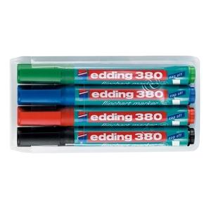 Marker  pentru flipchart EDDING 380, 1.5-3 mm, 4 culori (negru, albastru, rosu, verde)