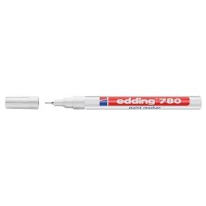 Marker permanent cu vopsea EDDING 780, corp aluminiu, 0.8 mm, alb