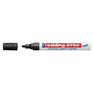 Marker permanent cu vopsea EDDING 8750, corp aluminiu, 2-4 mm, negru