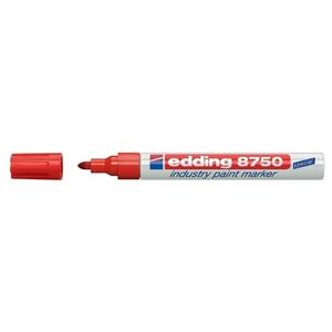 Marker permanent cu vopsea EDDING 8750, corp aluminiu, 2-4 mm, rosu
