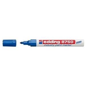Marker permanent cu vopsea EDDING 8750, corp aluminiu, 2-4 mm, albastru