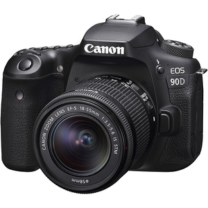 Aparat foto DSLR CANON EOS 90D, 32.5 MP, Wi-Fi, negru + Obiectiv 18-55mm IS STM