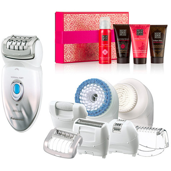Epilator + Kit cosmetice PANASONIC Wet & Dry ES-ED96-S503+R, acumulator, 48 pensete, argintiu