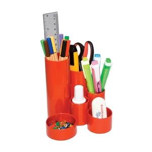 Suport instrumente de scris FLARO, 4 compartimente, plastic, rosu