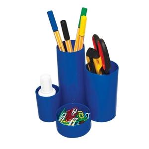 Suport instrumente de scris FLARO, 4 compartimente, plastic, albastru