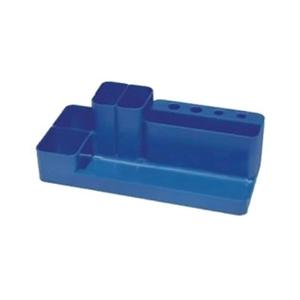 Suport accesorii birou FLARO, 9 compartimente, plastic, albastru